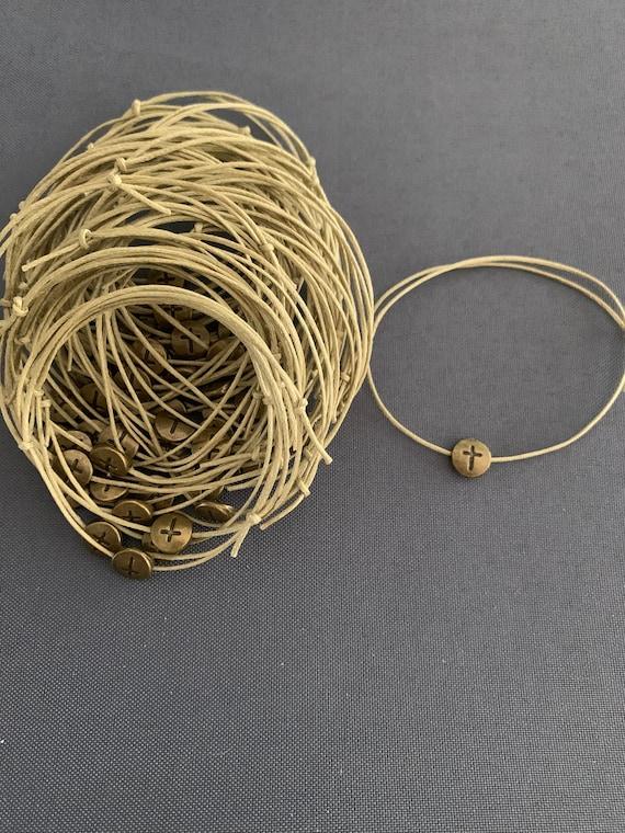 50- Baptism Martyrika (Witness Bracelets) Bronze Round Cross Martyrika Bracelets