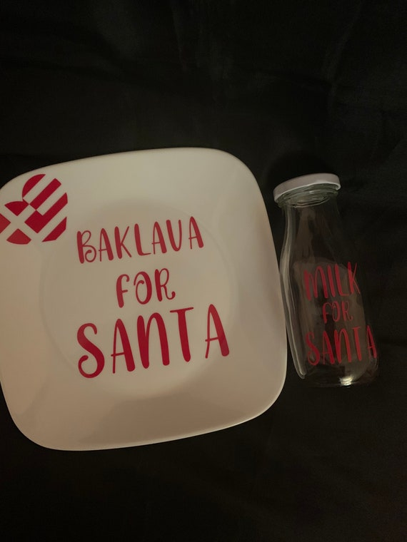 Baklava for Santa- Santa Plate - Christmas Eve Gift - Personalized Santa Plate - Greek Christmas Plate- Christmas Traditions