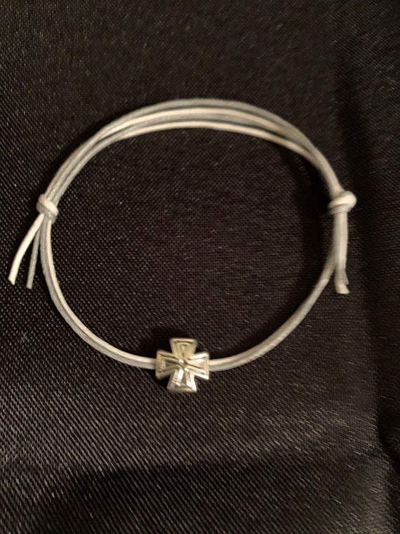 50- Baptism Martyrika (Witness Bracelets) Double cord bracelet with silver cross bead
