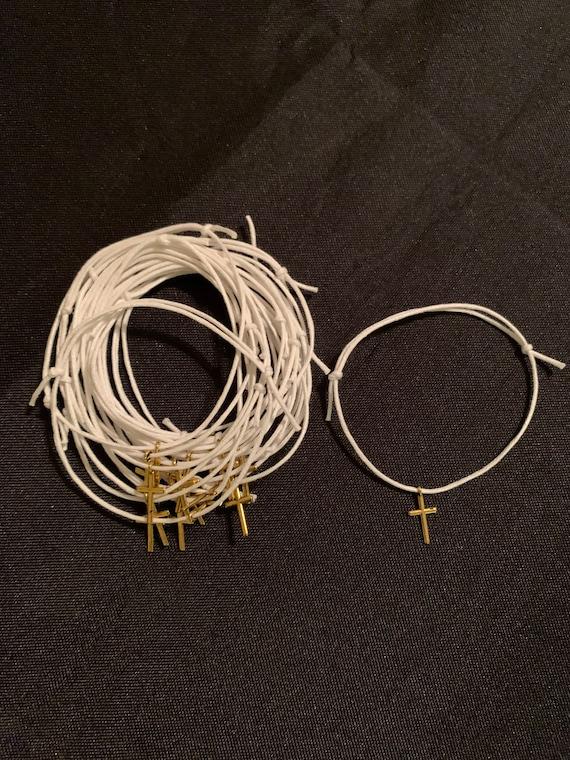 50- Baptism Martyrika (Witness Bracelets) / Wax  Cord /Gold Cross Martyrika Bracelets- baptism favors - greek traditions- birthday favors