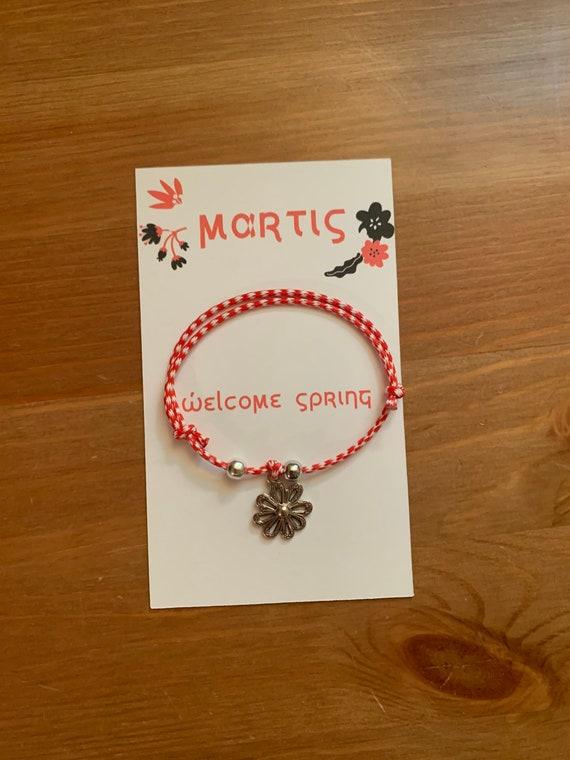 Martis Bracelet - Greek Spring Bracelet- March traditions - Spring is here - Red and White string- flower
