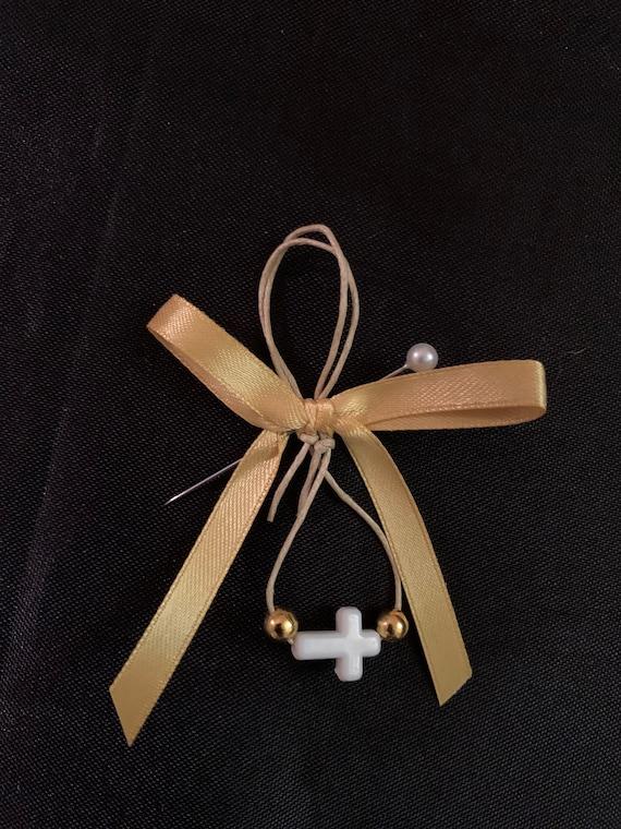 25 Baptism Martyrika (Witness Bracelets) / Color Cross & Wax- Martyrika - party favors - Pin/bracelet combo- birthday- anniversary- wedding