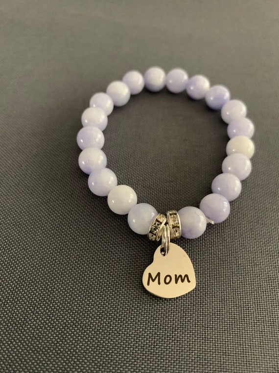 Mom Charm Glass Bead Stretchy Bracelet- FREE SHIPPING