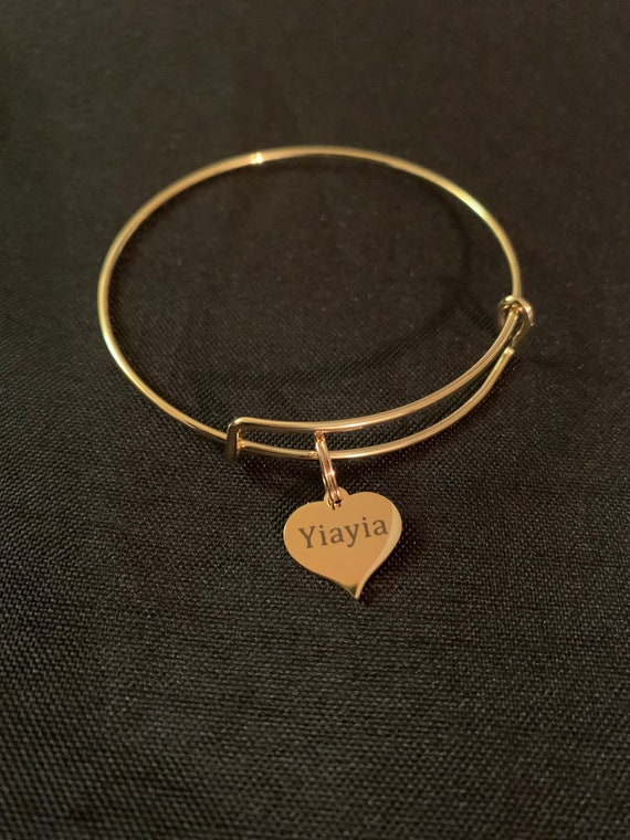 "Yiayia Charm Bangle ""Grandmother""bangle- greek grandma- miss you yiayia- best yiayia- thinking of you yiayia bangles- merry christmas yiayia"
