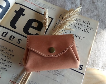Small leather accordion money wallet Handmade women's coin purse Credit card holder