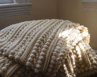 Cable Blanket: Cream