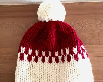 Christmas beanie/ Red and White knitted hat/ Handmade Christmas beanie