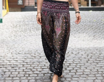 Black Harem Pants, Hippie Pants, Peacock pants, Thai harem pants, Women harem pants, Boho Pants, Baggy Pants, Gypsy Pants, Bohemian Pants