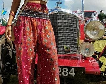 Orange Harem Pants, Hippie Pants, Peacock pants, Thai harem pants, Women harem pants, Boho Pants, Baggy Pants, Gypsy Pants, Bohemian Pants