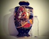 Emperor and Empress Moriage Vase Handpainted Gilded Enameled Signed With Red Symbol