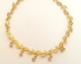 Gold Tone Vine Necklace with Clear Gemstones or Rhinestones