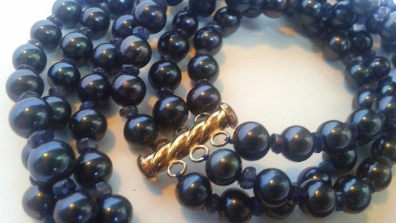 Three Strand Color Enhanced Cultured Freshwater Pearl and Iolite Necklace with 18KT Gold Over Sterling Silver Clasp