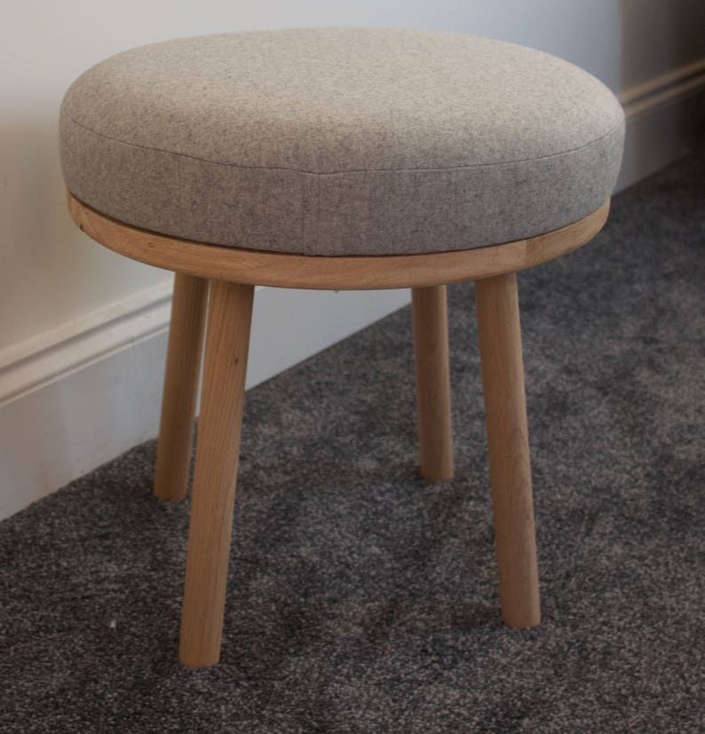 Groovy Wool And Oak Footstool Small Stool Round Oak Footstool Uk Milled Fabric Pure Wool Padded Footstool Ottoman Round Pouf Stool Ocoug Best Dining Table And Chair Ideas Images Ocougorg