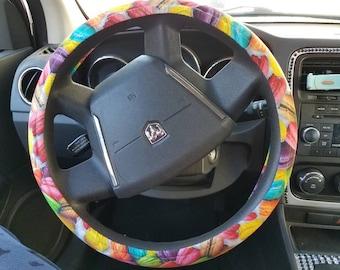 Colorful macaroon print steering wheel cover