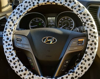 Black dots steering wheel cover and seatbelt cover, dalmatian spot steering wheel cover, polka dots steering wheel cover, animal spots