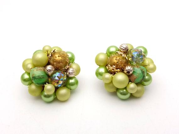 authentic vintage at GatherMevintage Vintage beaded clip-on half hoop earrings cluster or fancy pink gold flower beads