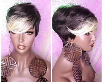 Short Cut Blonde Wig Etsy