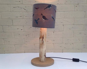 Table Lamp Made From Cherry on an Oak Base with Hand Painted Shade