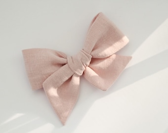 5cf028eb6abe Large pink linen fabric bows school girl handmade tied blush ballet soft  pale perfect // The Midi Moo in Ballet Pink