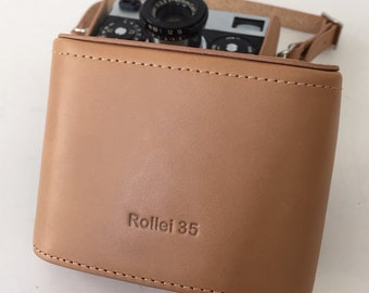 Leather Rollei 35 Tan with Tan Stitching Half Case BRAND NEW