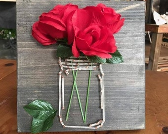 White Mason Jar String Art with Roses