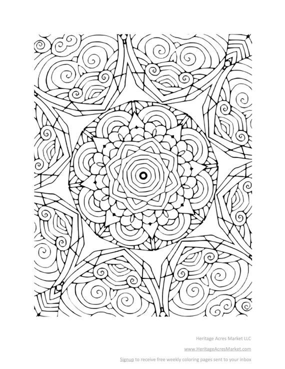Adult Coloring Book Relaxing Full Page Design Zen 15 Pages Etsy