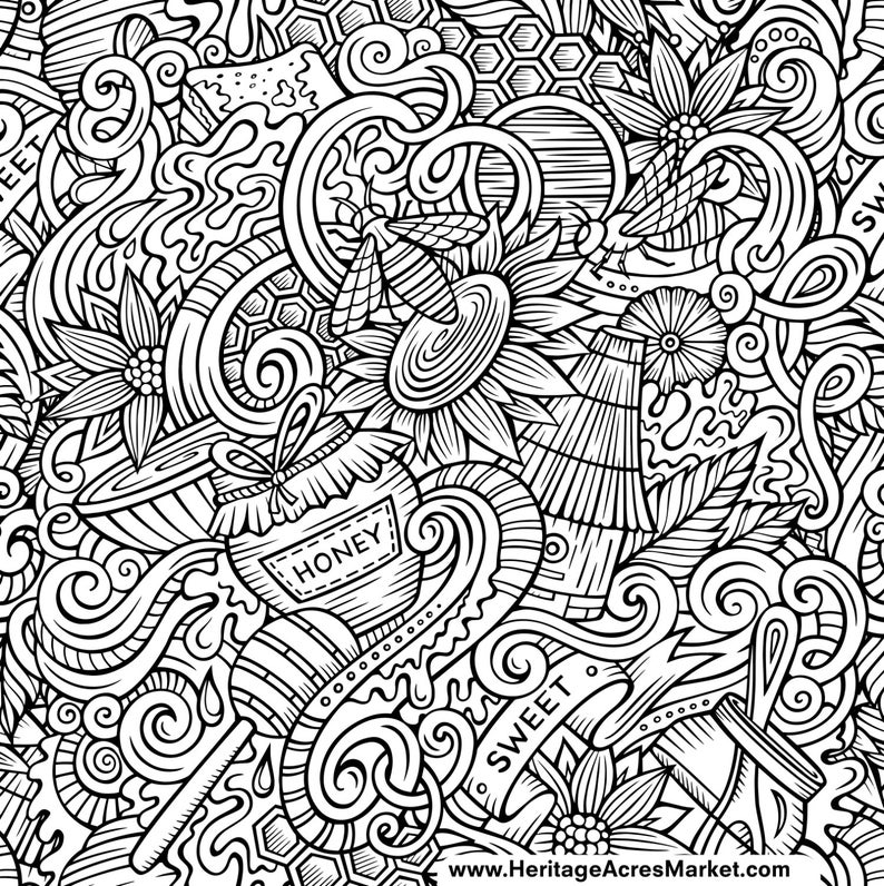 Download Bee Theme Adult Complicated Coloring Page PDF Digital Download | Etsy