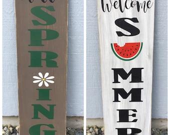 Spring Summer reversible sign, hello spring, welcome summer, spring home decor, summer home decor, spring porch sign, summer porch sign.