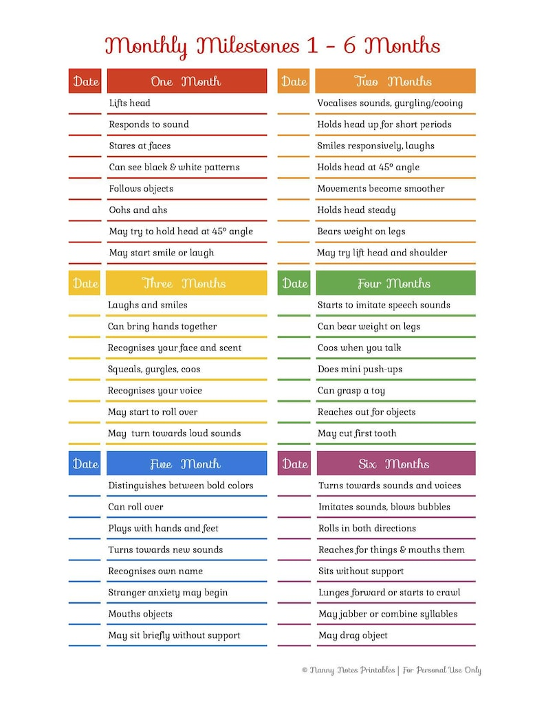 Rainbow Baby & Toddler Monthly Milestones Checklist 1 24 ...