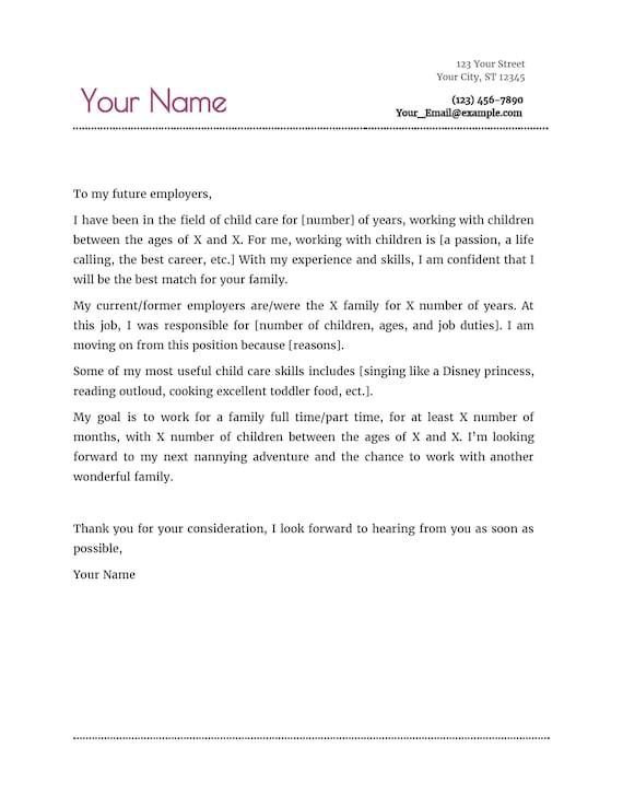 Nanny Resume Cover Letter Etsy