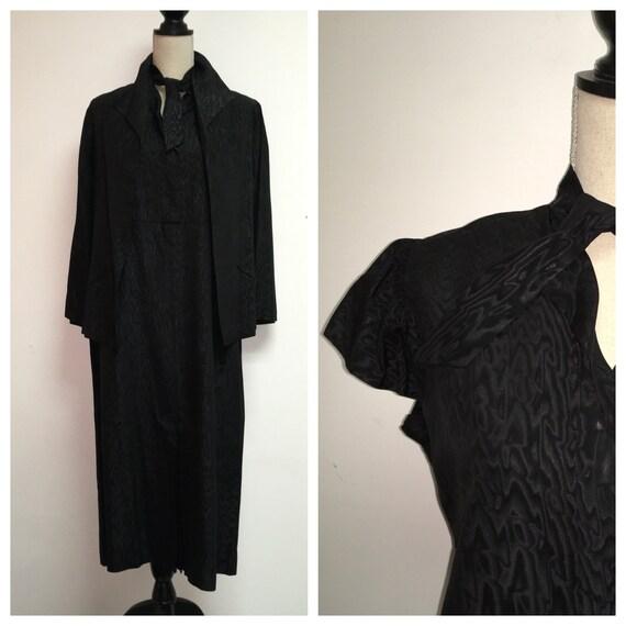 1930's Antique Black Moire Taffeta Dress with Jack