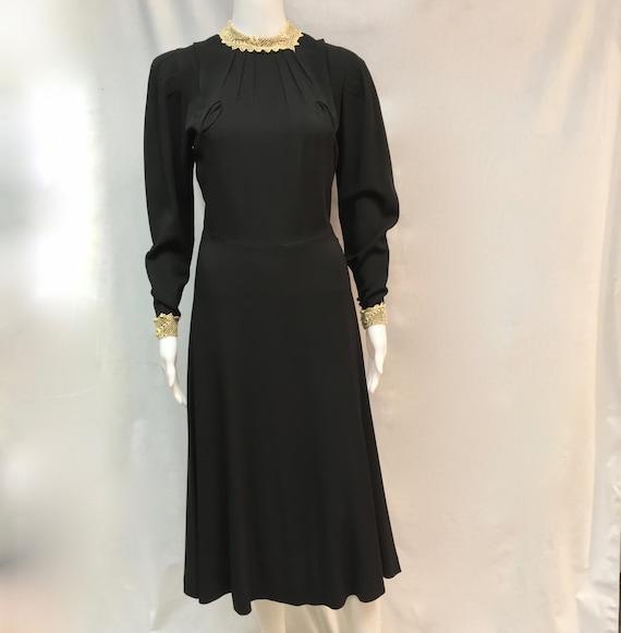 Elegant Antique 1930's Black Crepe Cocktail Dress
