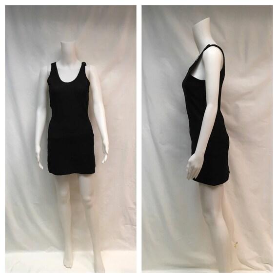 1920's Classic Antique Black Wool Swim Suit