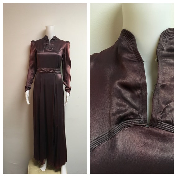 Elegant 1930's Antique Plum Silk Satin Evening Dre