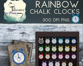 Chalk Clocks Clipart pack - Chalkboard clipart - chalk clocks favor tags- chalk clip art - rainbow clocks cupcake toppers - colorful alarm