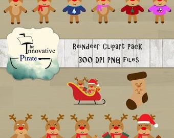 Christmas Reindeer Clipart Pack