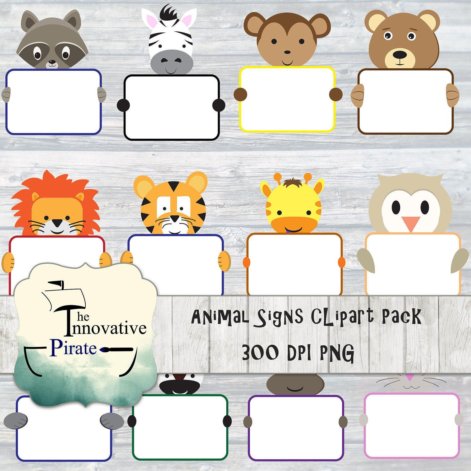 animal signs animals clipart holding cute pack jungle tags name forest birthday favor woodland diy don