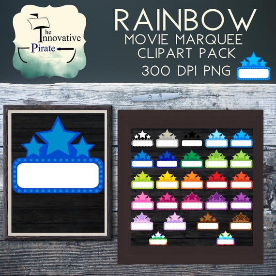 Rainbow Movie Marquee Clipart Pack Sign Clip Art