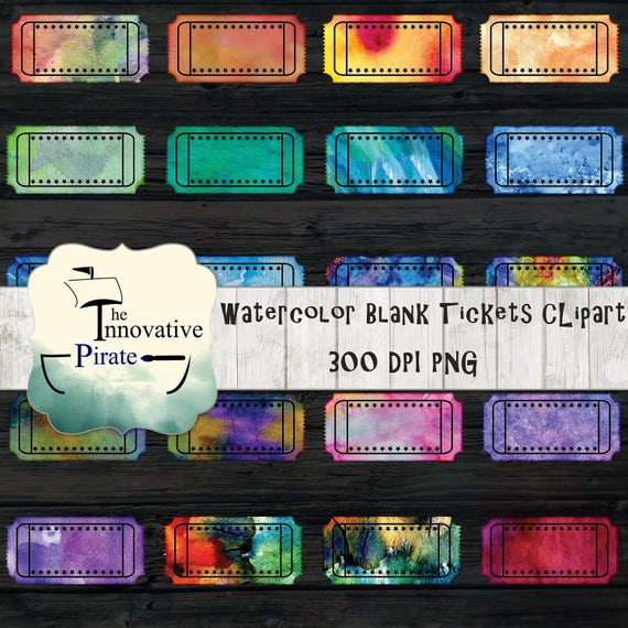 Watercolor Blank Tickets Clipart Pack Water Color Movie