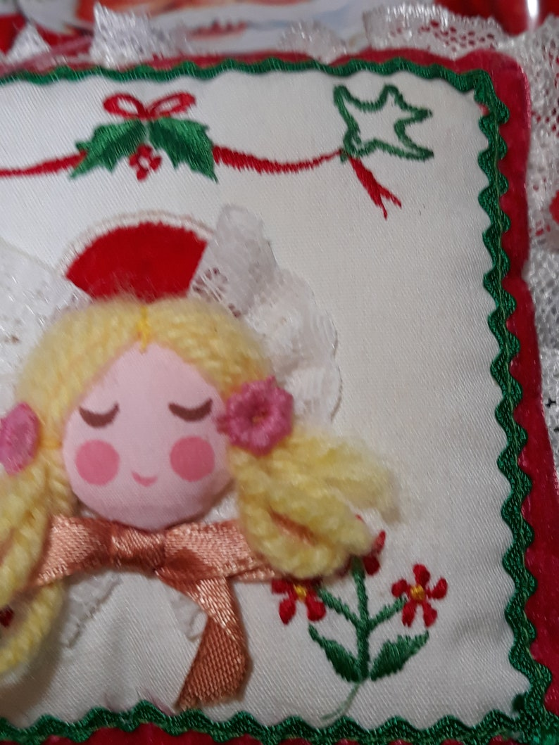 Holiday Decor Vintage Ornament Stitched Square Pillow HANDCRAFTED CHRISTMAS ORNAMENT Yellow Yarn Angel Christmas Tree ornament