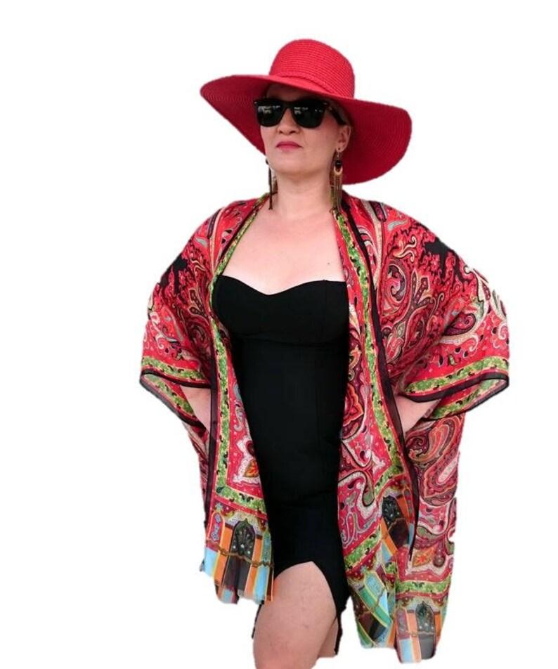 3973175b522 Silk Kimono Robe   Paisley Kimono Cardigan   Red Kimono Cover