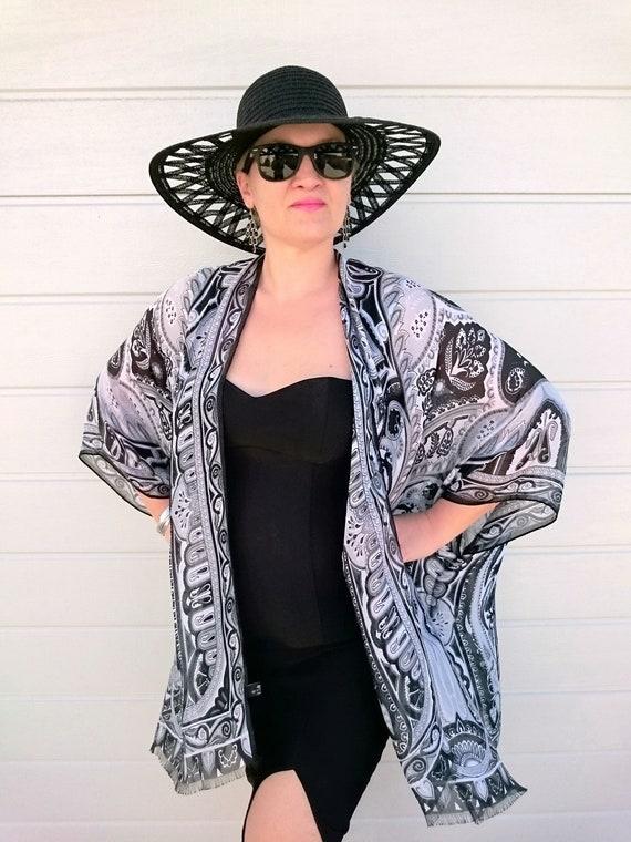 d6edc65ceb1 Silk Kimono Robe   Paisley Kimono Cardigan   Black Kimono