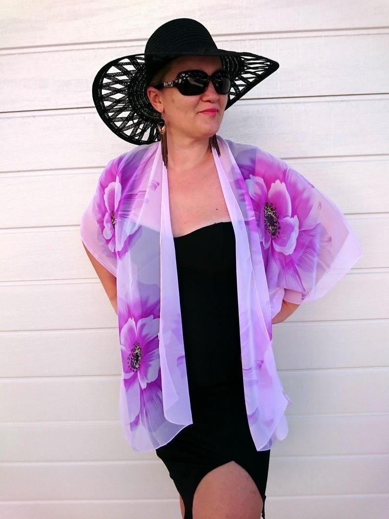 blue Sheer Chiffon beige Floral Top purple white Floral Chiffon Top  black pink Plus SIze Kimono Jacket Coverup Plus Size Outfits