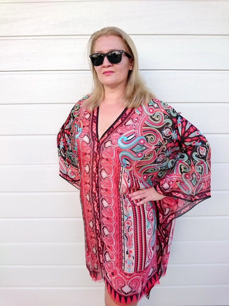 a2a2e25c4a Plus Size Silk Poncho Kaftan Top Beach Cover Up Stylish Resort
