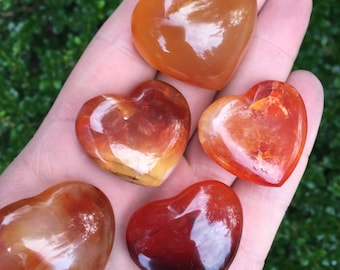 Carnelian Heart - Orange Heart - Crystal Stone Heart - Healing Crystals and Stones - Perfect for crystal collections and more! GemCity