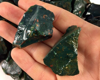 Raw Bloodstone Crystal - Healing Crystals and Stones - Root Chakra - Crystal Grid - Natural Bloodstone - Reiki - Jewelry Making