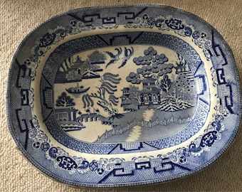 Vintage Willow Pattern Platter Wall Plate