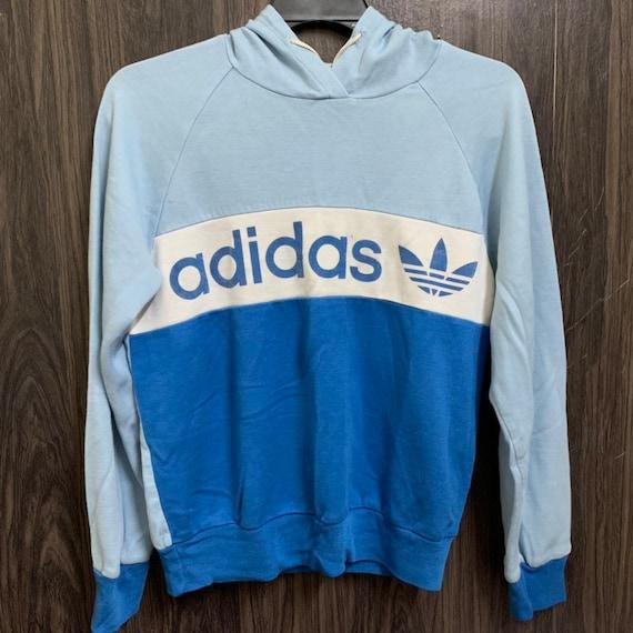 Vintage 80er 90er Jahre Adidas Kapuze Spellout Größe S