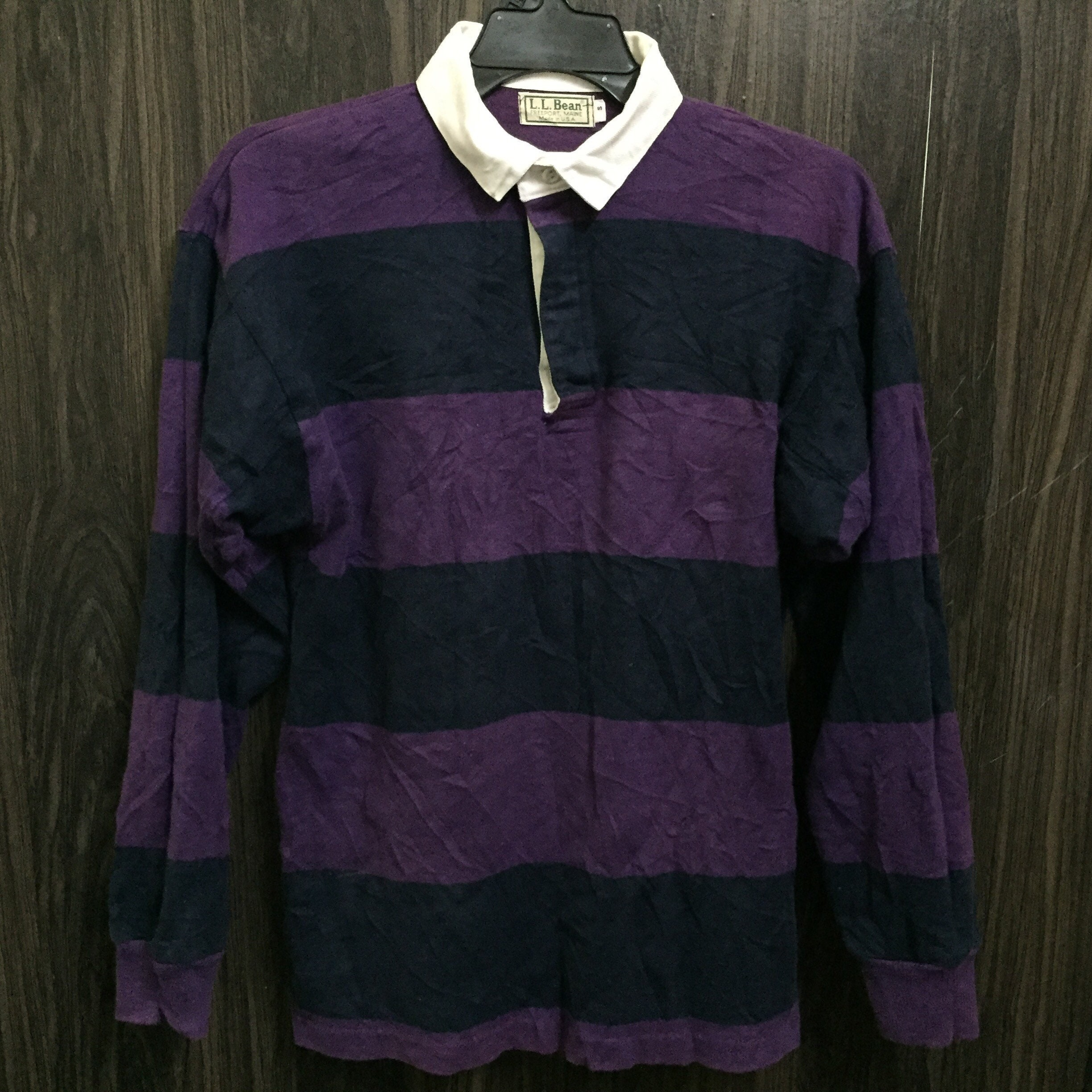Vintage Ll Bean Rugby Style Polo Shirt Big Striped Size S Etsy