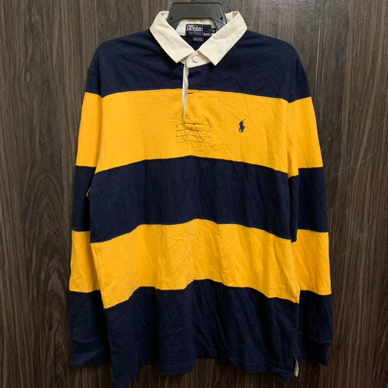 59207747451 Vintage 90s Polo Ralph Lauren Rugby Shirt Style Big Striped | Etsy
